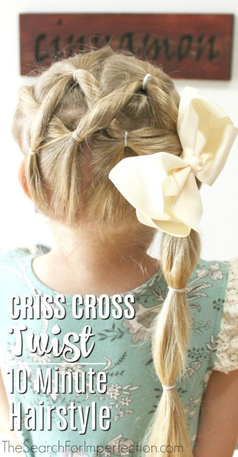 This Easy Criss Cross Twist Girls Hairstyle would be so cute for Back to School!