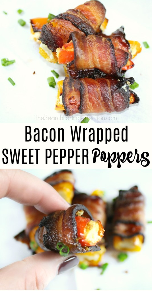 Can't wait to try Bacon Wrapped Sweet Pepper Poppers at my next party! #partyfood #appetizers #fingerfood www.thesearchforimperfection.com