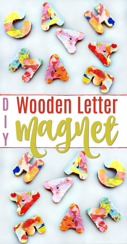 These DIY Decoupage Wooden Letter Magnets are so cute! #diyproject #woodenlettercraft