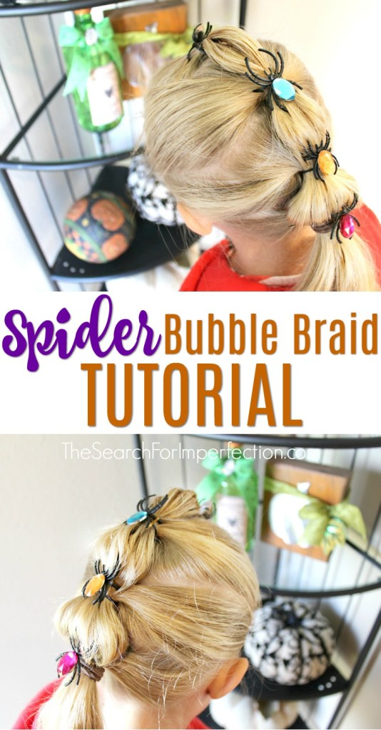 What a cute Halloween hair tutorial, spider bubble braid! #halloweenhair #hairtutorial #spiderbubblebraid