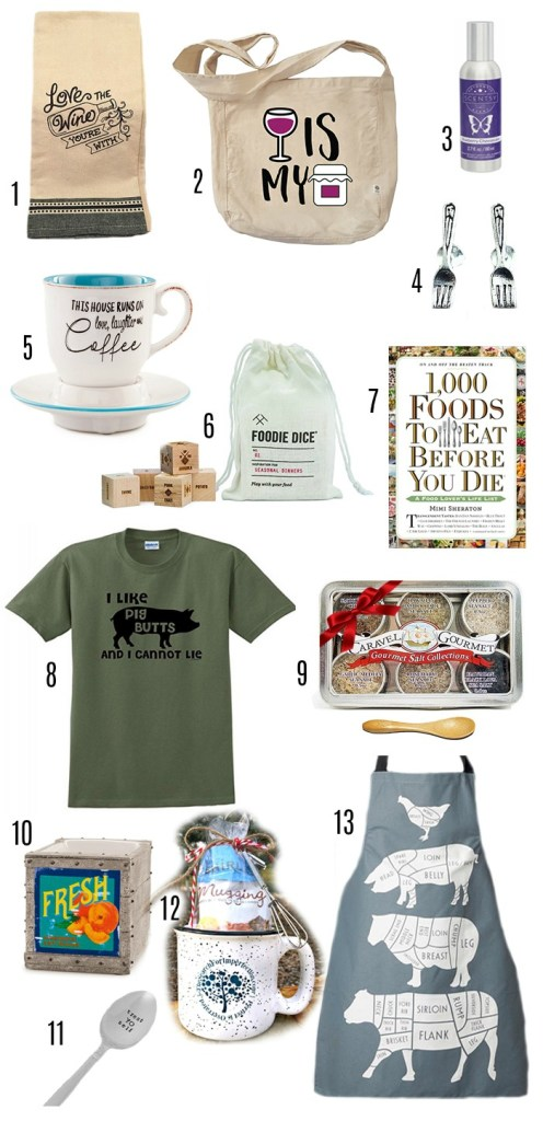 These 13 fun gifts for the foodie in your life are perfect ideas for gifts!!! #foodiegifts #foodiegiftguide