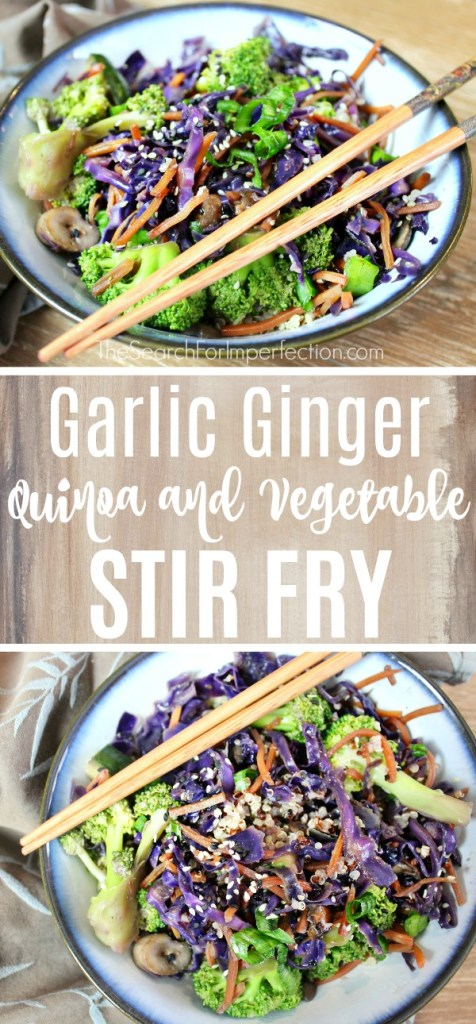 Sooo easy and yummy. Garlic ginger quinoa and vegetable stir fry is healthy and delicious! #ad #vegetarian #quinoabowl #stirfrybowl www.thesearchforimperfection.com