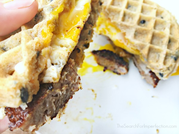 Waffle Egg Sausage Cheese Sandwich