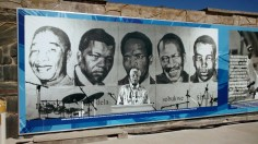 A who's-who of key political activists pictured on an information board close to the docks on Robben Island. Mandela, 2nd from L.