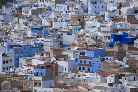From a hill above the town, Chefchaouen is a patchwork of blue and white buildings, set off by red roofs and stone.