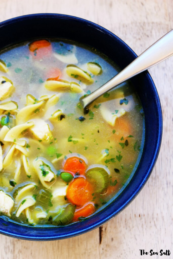 Chunky Chicken Noodle Soup with Fresh Herbs