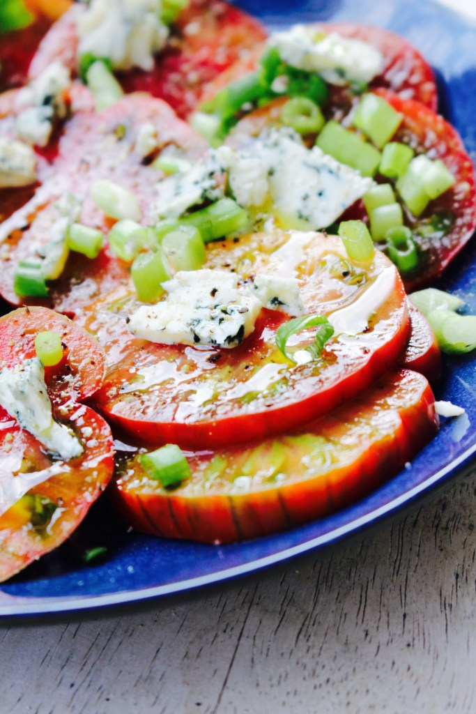 Heirloom Tomato Salad with Blue Cheese and Green Onions