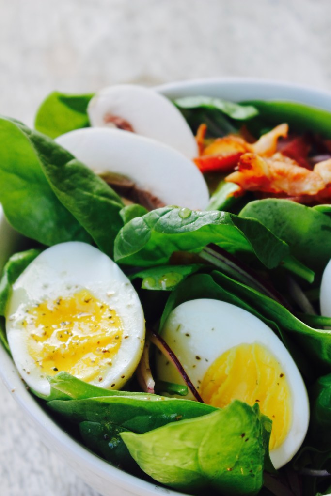 My Mother-In-Law's Spinach Salad (and how to make a perfect hard boiled egg)