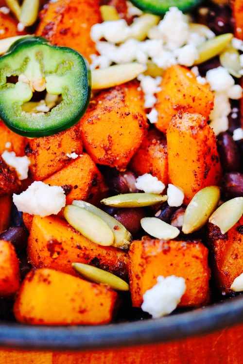 Spicy Butternut Squash Skillet with Cotija and Pepitas