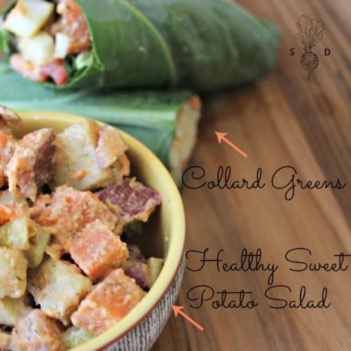Healthy Sweet Potato Salad + Collard Greens