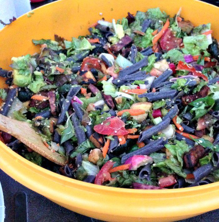 Grilled Seasame Salad with Black Bean Pasta