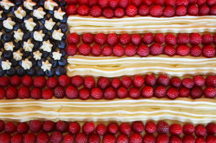 Fresh blueberries and strawberries make an attractive flag cake