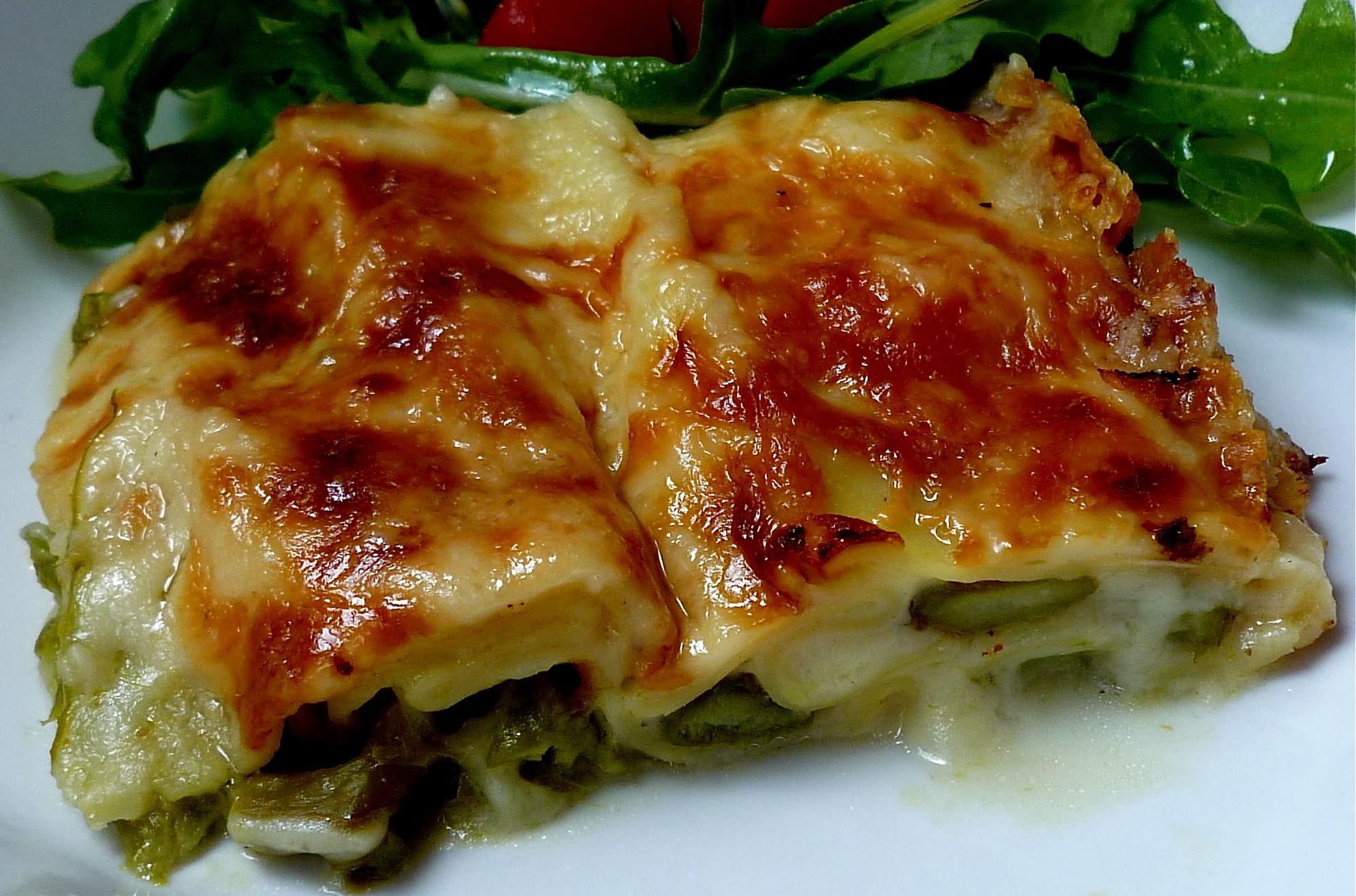Roasted Asparagus Lasagna with Salad