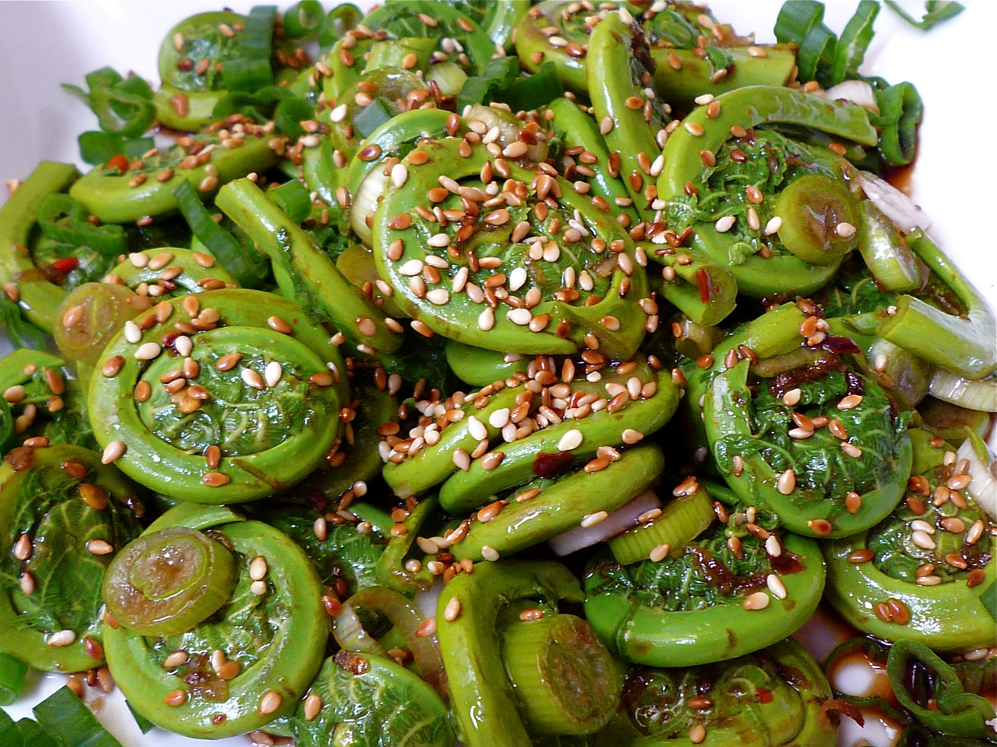 Fiddlehead Salad with Sesame Vinaigrette