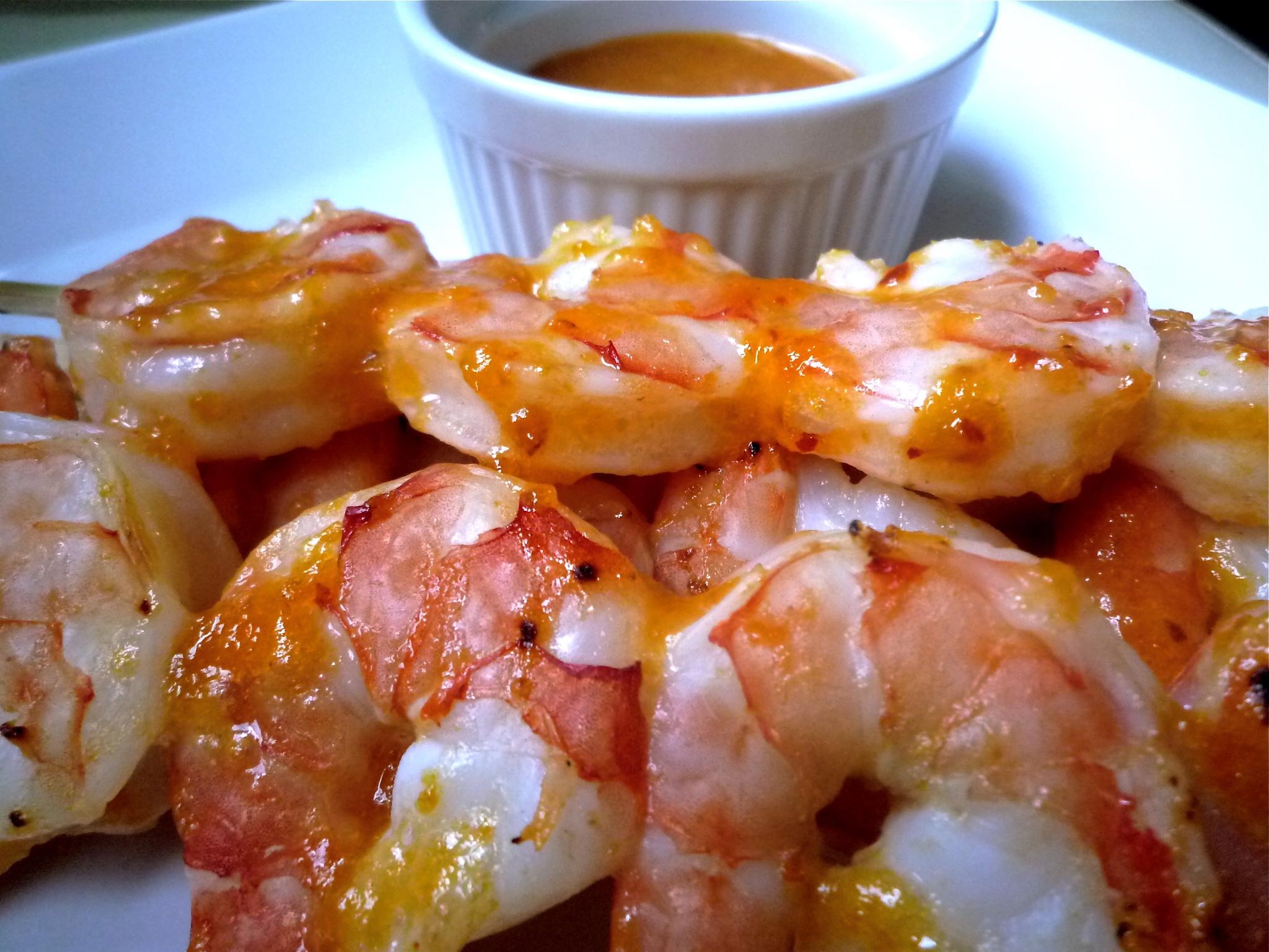 Spicy Apricot Glazed Grilled Shrimp
