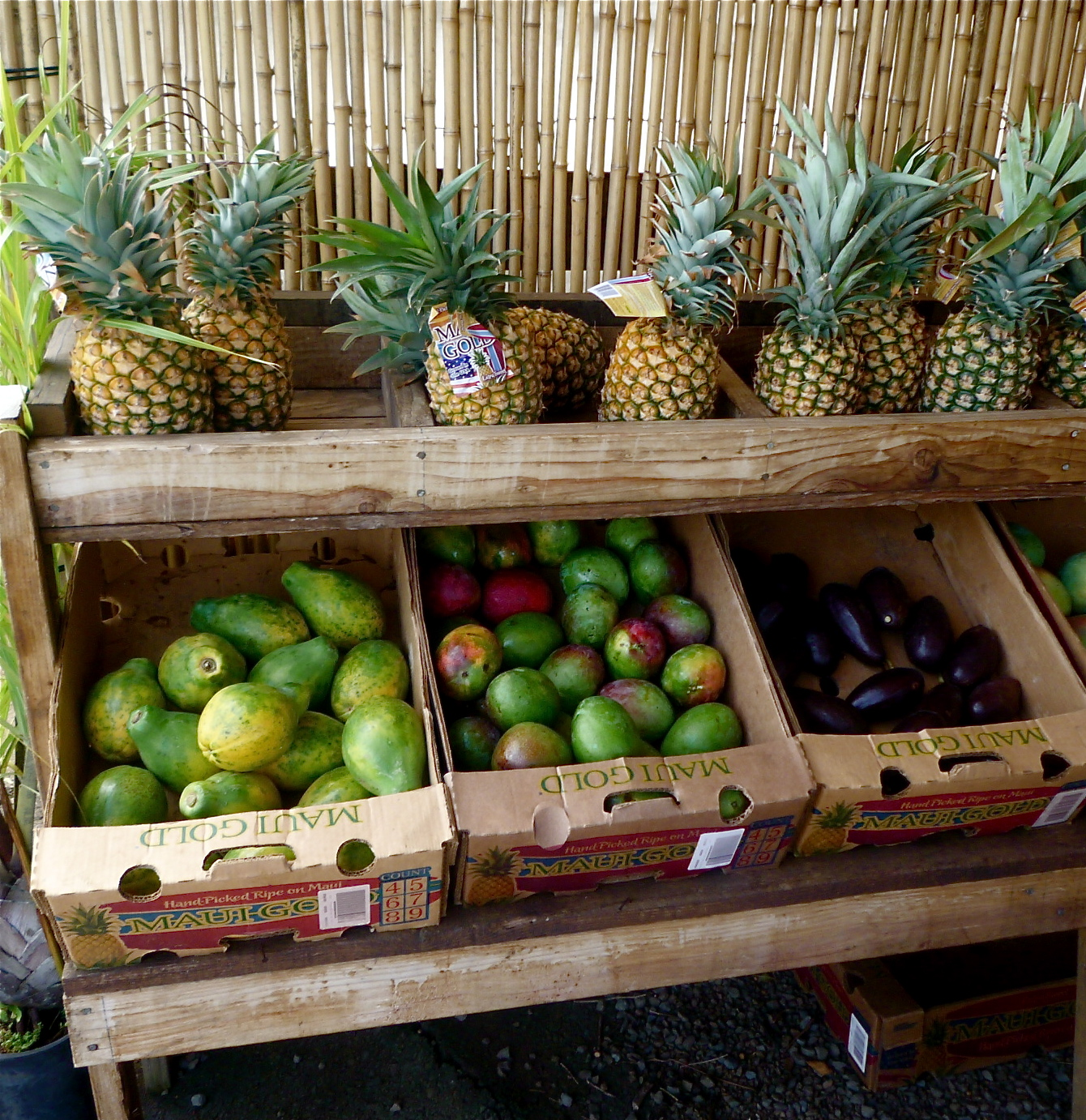 A roadside fruit stand on the Hana Highway