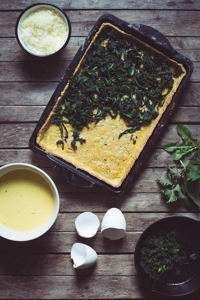 Wild Garlic, Nettle, Dandelion and Goose Egg Tart -- Preparing the dish | http://theseasonaltable.co.uk/savoury/wild-garlic-nettle-dandelion-and-goose-egg-tart/