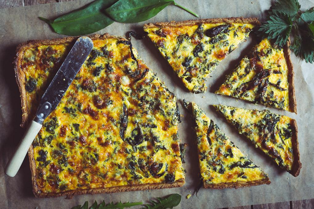 Wild Garlic, Nettle, Dandelion and Goose Egg Tart -- Slice and serve | http://theseasonaltable.co.uk/savoury/wild-garlic-nettle-dandelion-and-goose-egg-tart/
