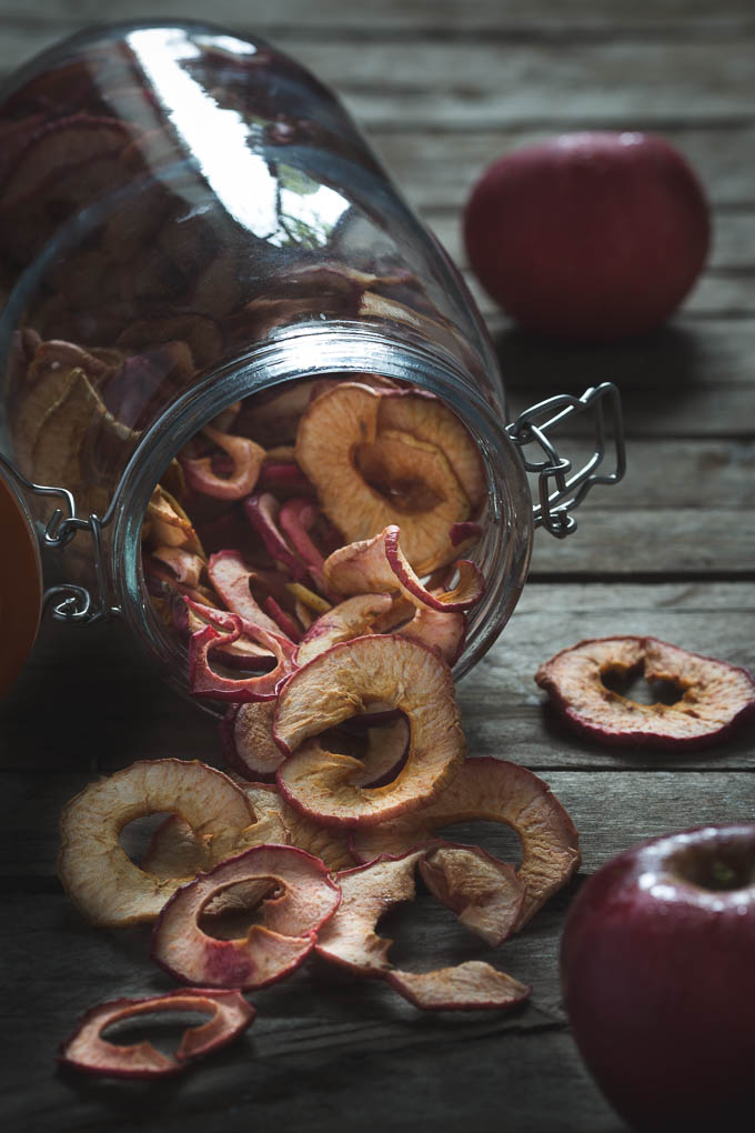Apple Crisps -- Jar of apple crisps | https://theseasonaltable.co.uk/savoury/apple-crisps/