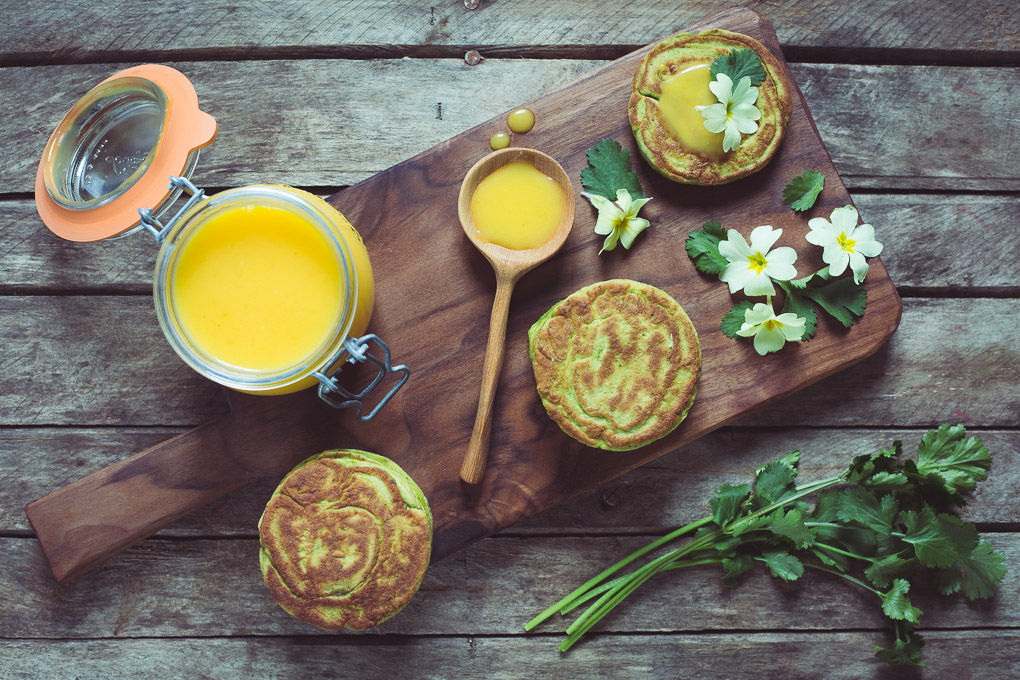 Coriander Pancakes with Lemon Curd and Primroses -- Serve for brunch -- Seasonal Food UK -- Seasonal Recipes UK | https://theseasonaltable.co.uk/uncategorized/coriander-pancakes-lemon-curd-primroses