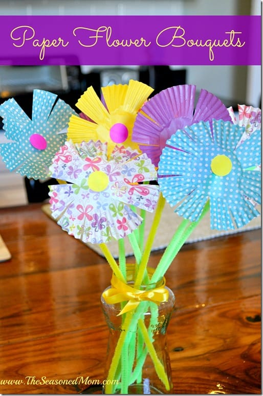 spring craft paper flower bouquets