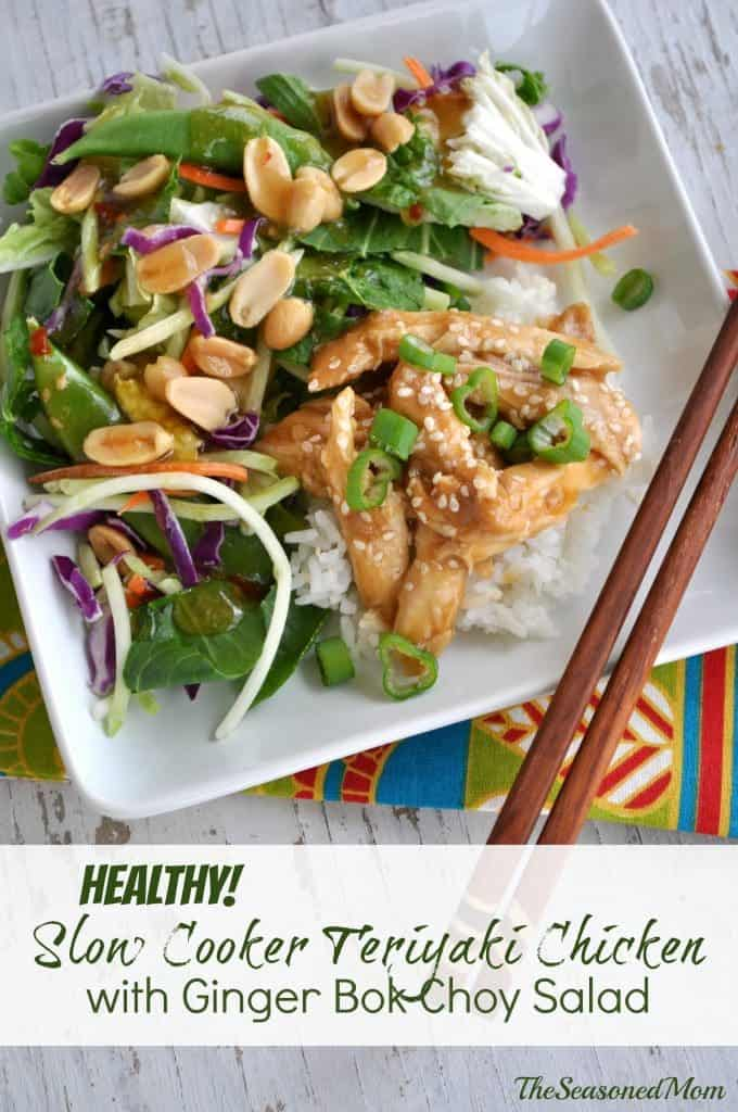 Healthy Slow Cooker Teriyaki Chicken with Ginger Bok Choy Salad
