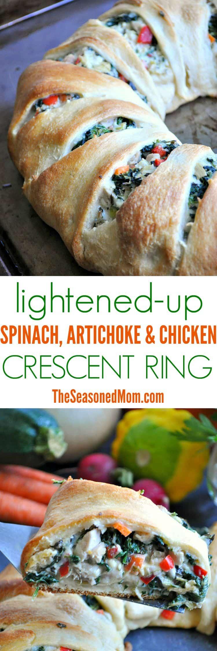 Lightened-Up Spinach Artichoke & Chicken Crescent Ring - The Seasoned ...