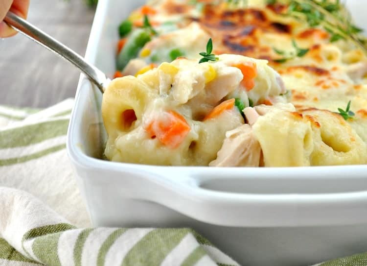 A comforting and easy weeknight dinner is ready fast with this Chicken and Veggie Tortellini Casserole!
