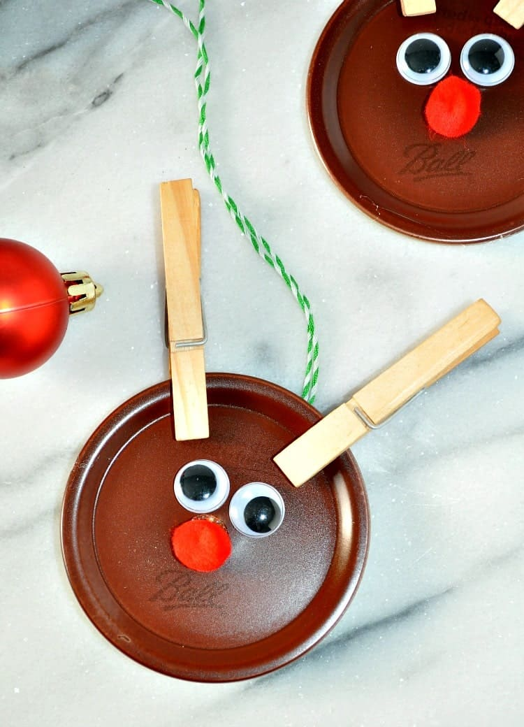 Homemade Christmas Ornaments: Mason Jar Lid Reindeer - The ...