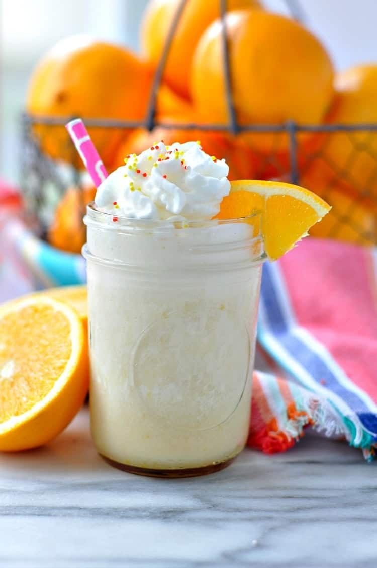 Start the day with a clean eating, healthy breakfast -- an Orange Dream Protein Smoothie!