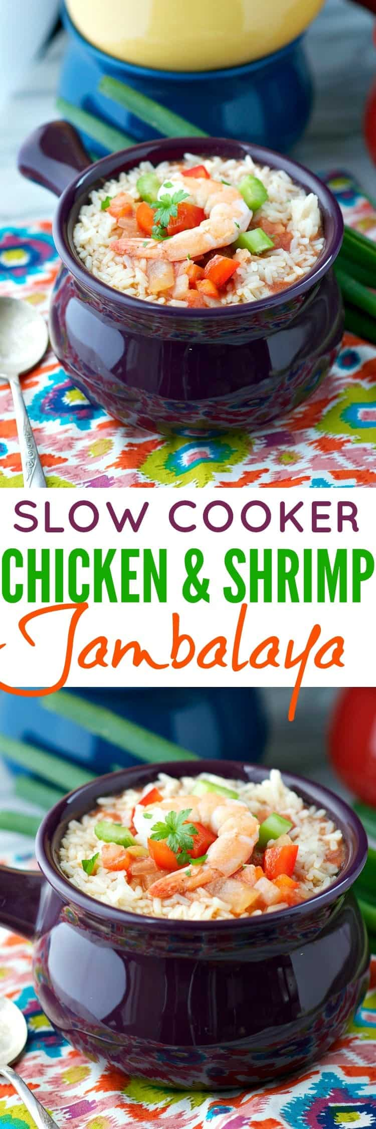 Everyone needs a healthy Crock Pot dinner to turn to for busy evenings, and this Slow Cooker Chicken and Shrimp Jambalaya is the clean eating dinner recipe that you've been looking for!