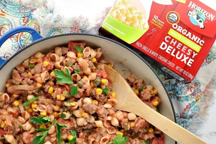 This Stovetop Chuckwagon Mac is a quicker, healthier, and easier version of a favorite childhood dinner!
