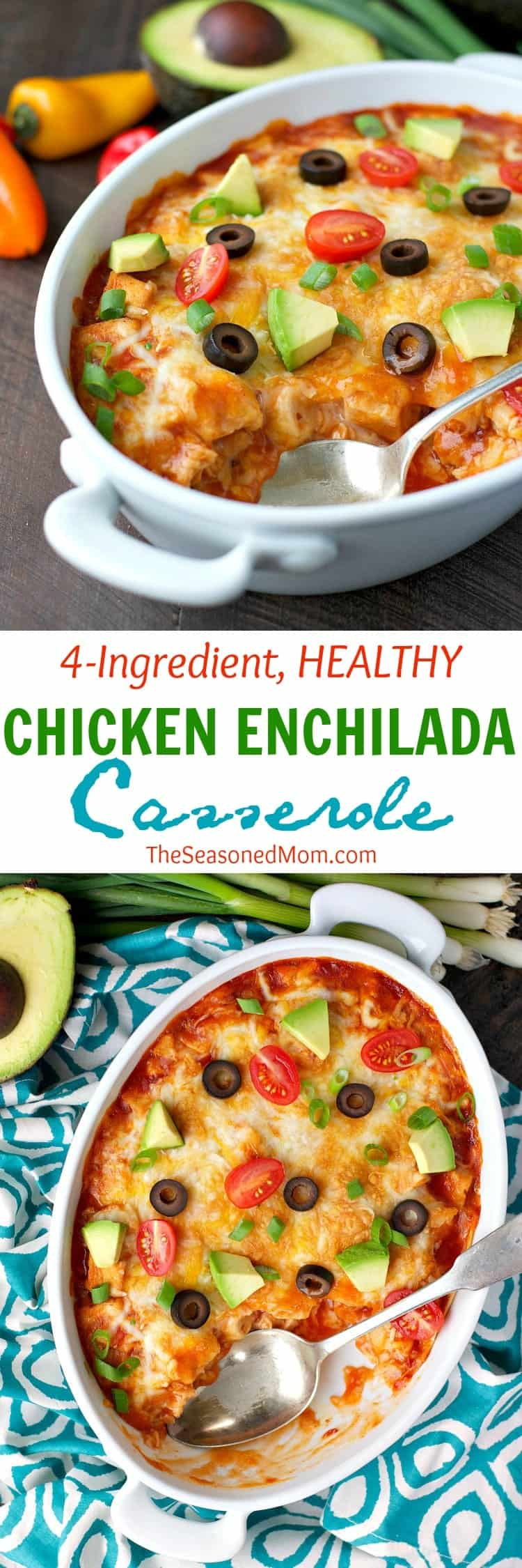 4 Ingredient Healthy Chicken Enchilada Casserole The Seasoned Mom