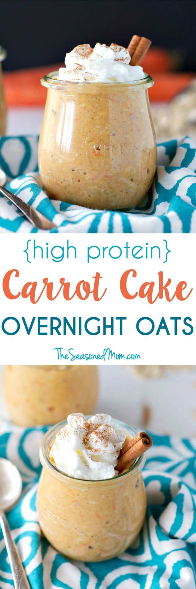 A delicious and healthy spring breakfast doesn't get any easier than these creamy make-ahead High Protein Carrot Cake Overnight Oats! Thanks to plump raisins, shredded coconut, and warm spices, you'll think that you're indulging in dessert...but with plenty of fiber and protein, the clean eating breakfast will keep you full and energized all morning long!