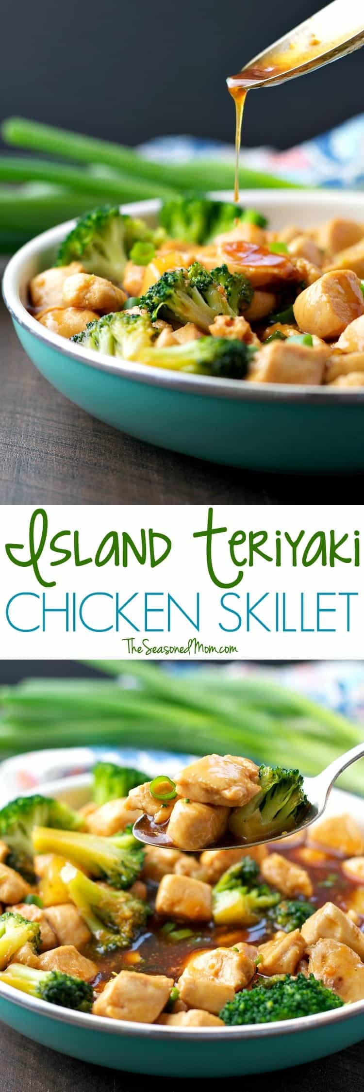 This healthy dinner comes together in about 20 minutes with just a few simple ingredients! My Island Teriyaki Chicken Skillet is a clean eating meal that's less than 300 calories -- and the whole family loves it!