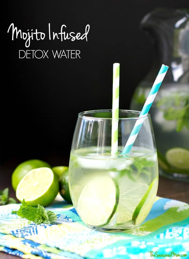 This refreshing lime and mint Mojito Infused Detox Water is a true powerhouse! Not only does this cold beverage taste delicious, but it can also help with weight loss and digestion...what's not to love about that?!