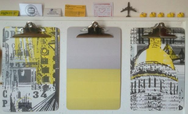 Yellow handmade clipboards