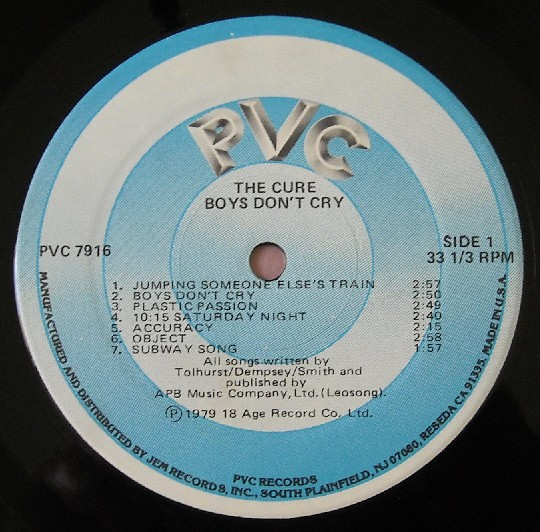 "The label to The Cure's ""Boys Don't Cry,"" released on PVC Records."