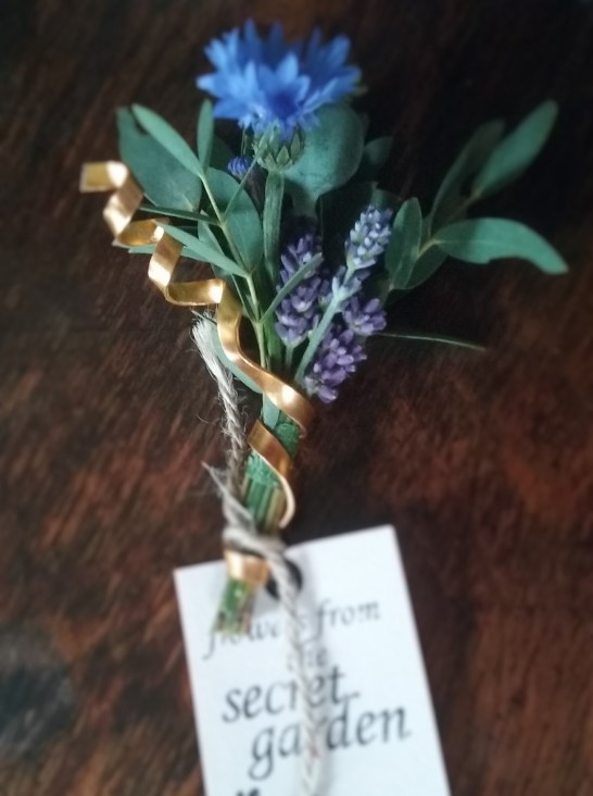 Cornflower & copper buttonhole