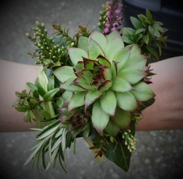 Succulent Greenery Corsage Wedding
