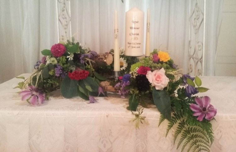 Woodland wedding altar Springfort Hall