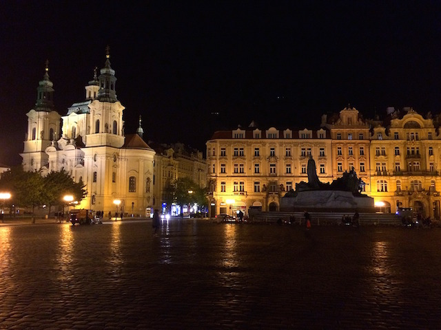 old town square Prague at night
