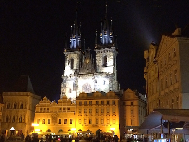 Church of the Virgin Mary Before Tyn at night, Prague