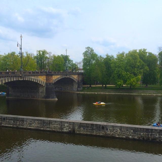 Prague river bank