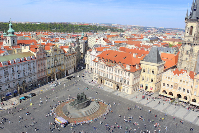 Prague, view over the Old Town square from the Clock Tower