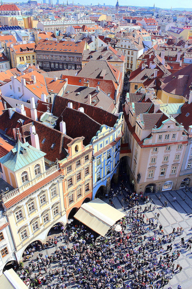 Prague view from the clock tower
