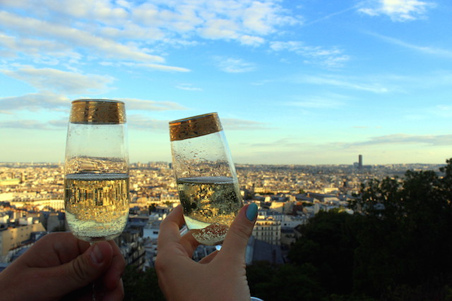 View over Paris from Montmartre while drinking champagne
