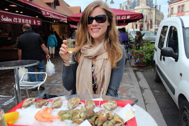 seafood lunch at the fish market in Trouville