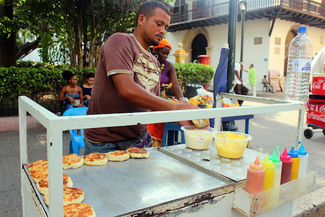 Arepa in Cartagena old town, Colombia
