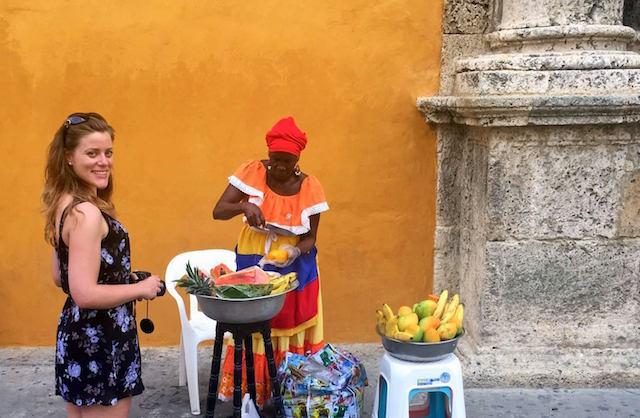Maria in front of Santo Domingo church in Cartagena, Colombia